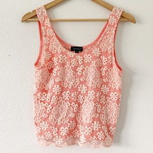 Topshop Pink White Lace Knit Tank Top